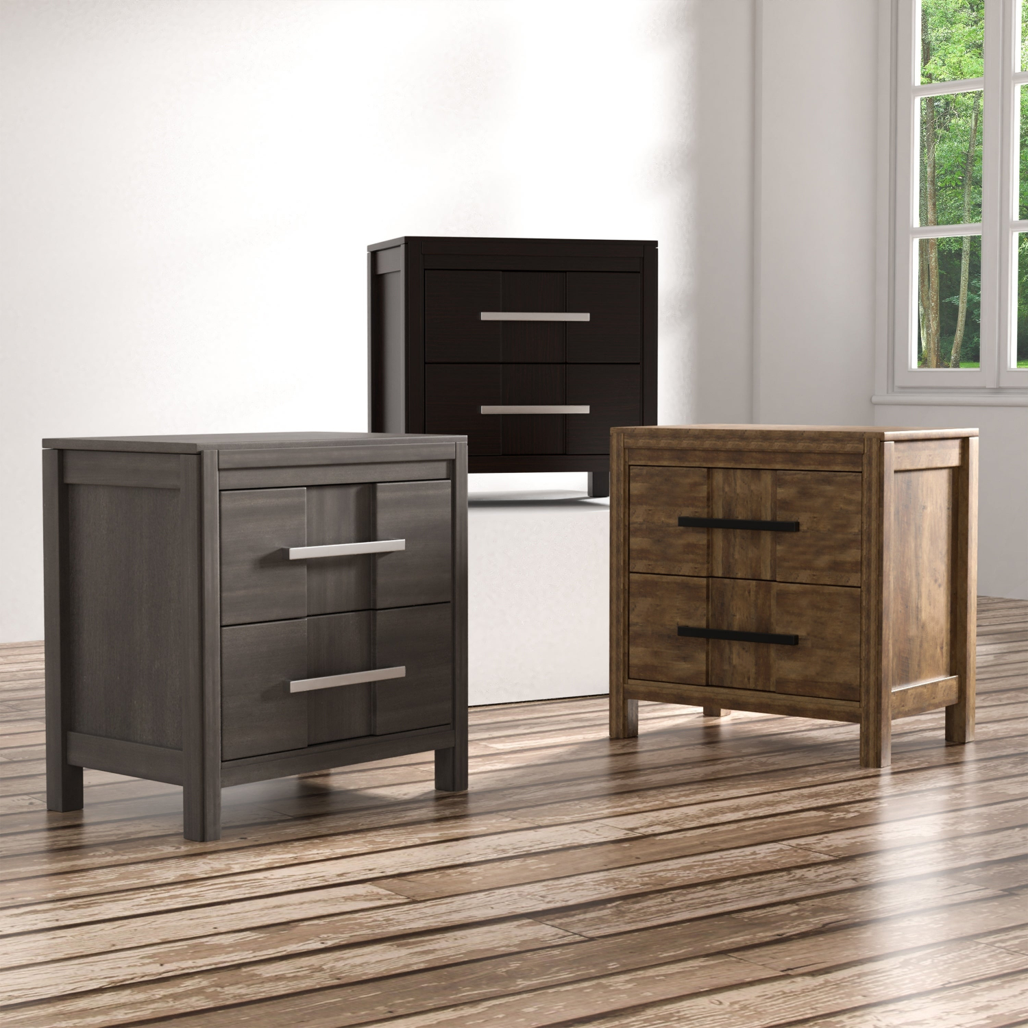 Details About Telke Contemporary Wood 2 Drawer Nightstand By Foa