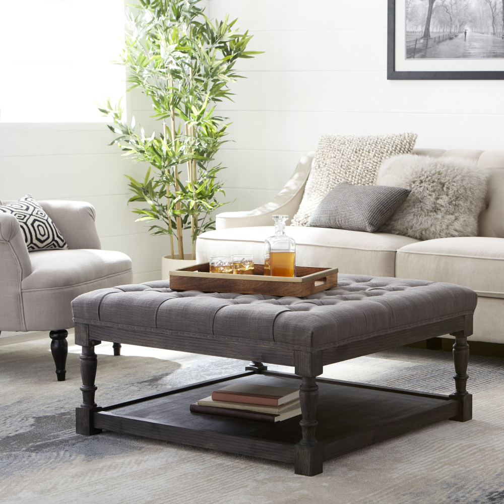 Large Gray Fabric Square Tufted Ottoman