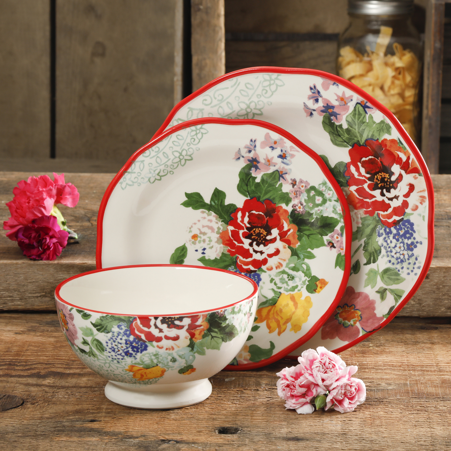 The Pioneer Woman Vintage Floral 12 Pc Dinnerware Set Service for 4 Plate New