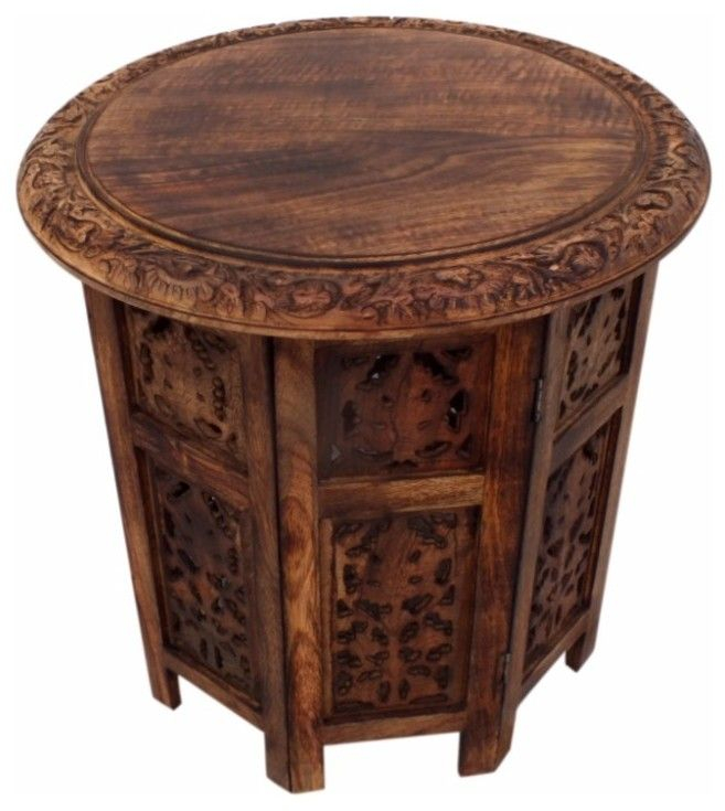 Round folding accent side end table moroccan cut out carvings carved