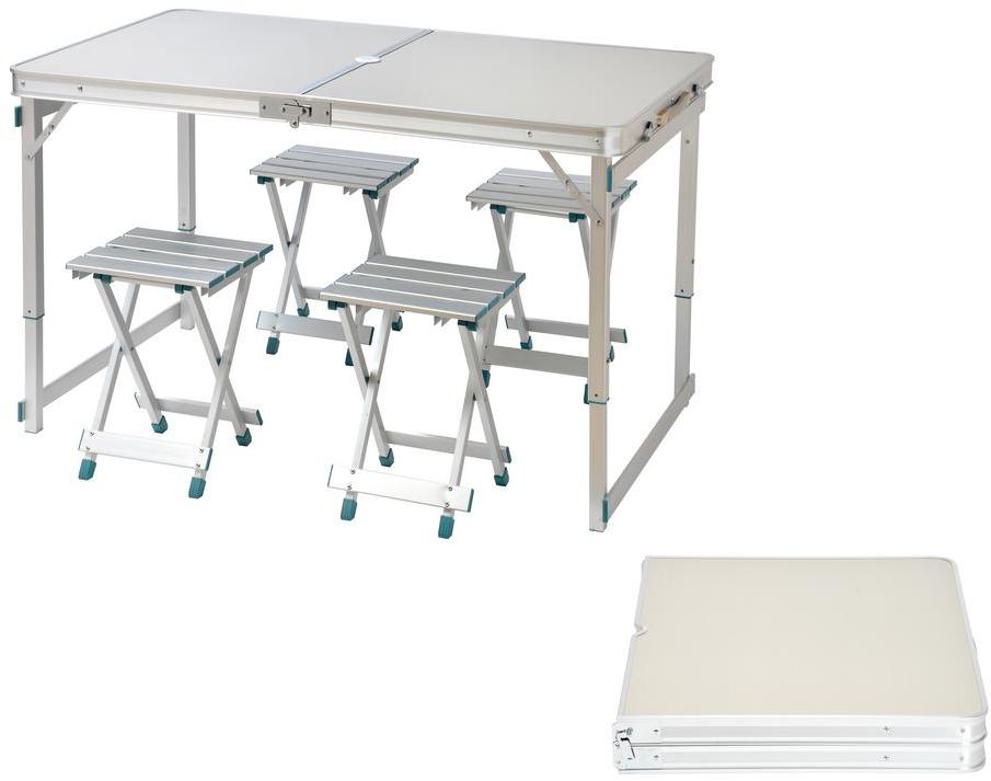 Trademark Innovations Aluminum Adjustable Portable Folding Camp Table w// Carry H