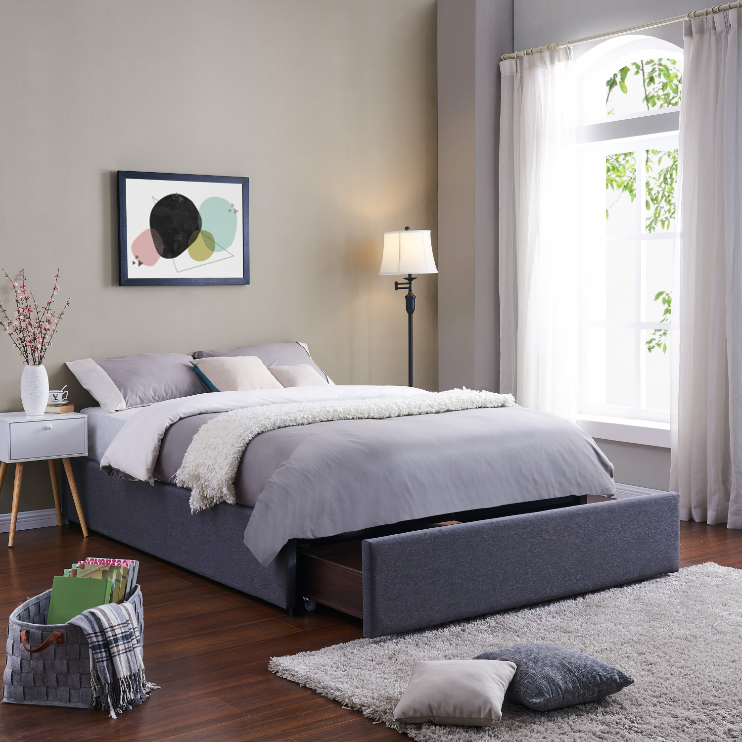 Twin Full Queen King Size Platform Bed Frame With Storage