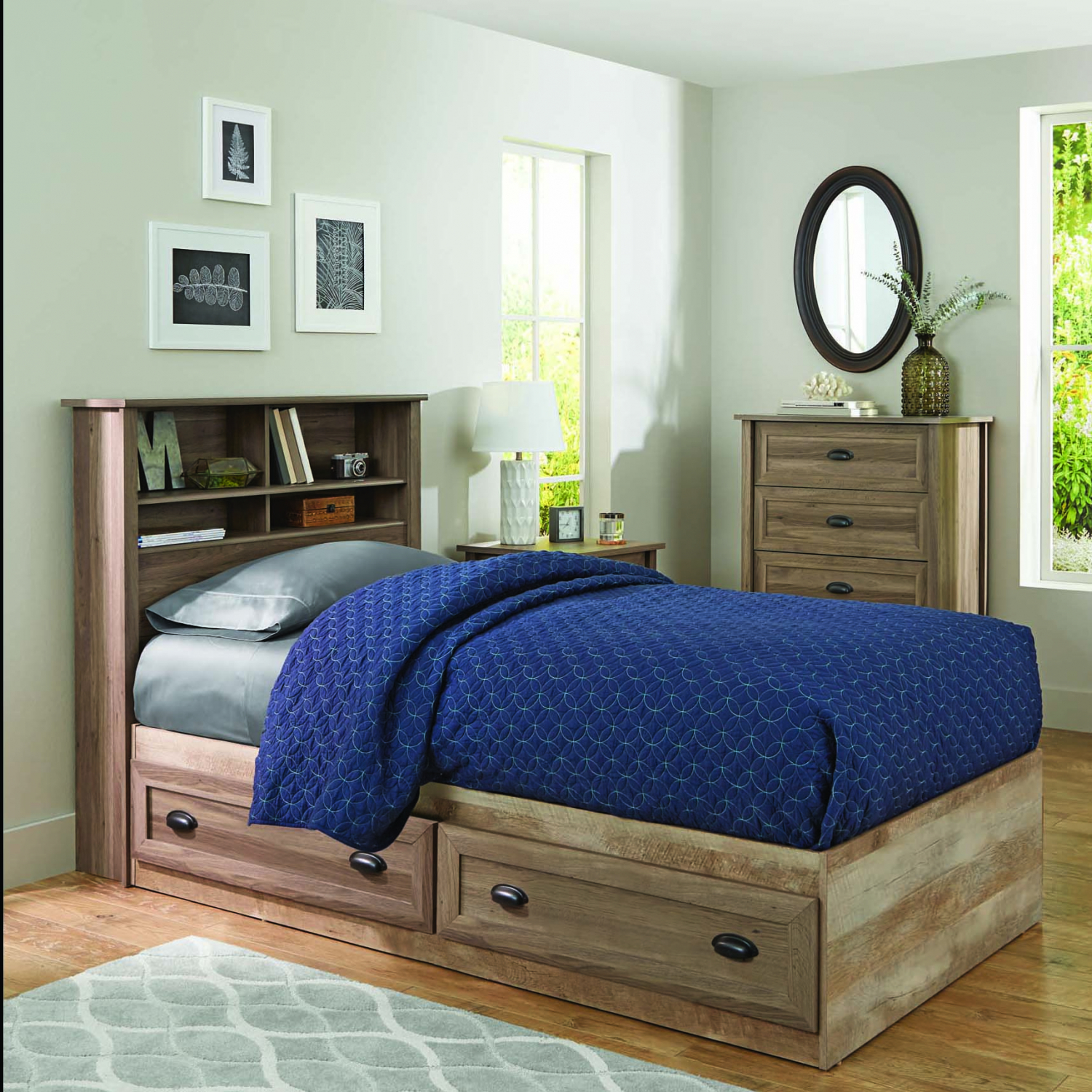 Twin Size Platform Bed Frame With Storage 2 Drawers Wood ...