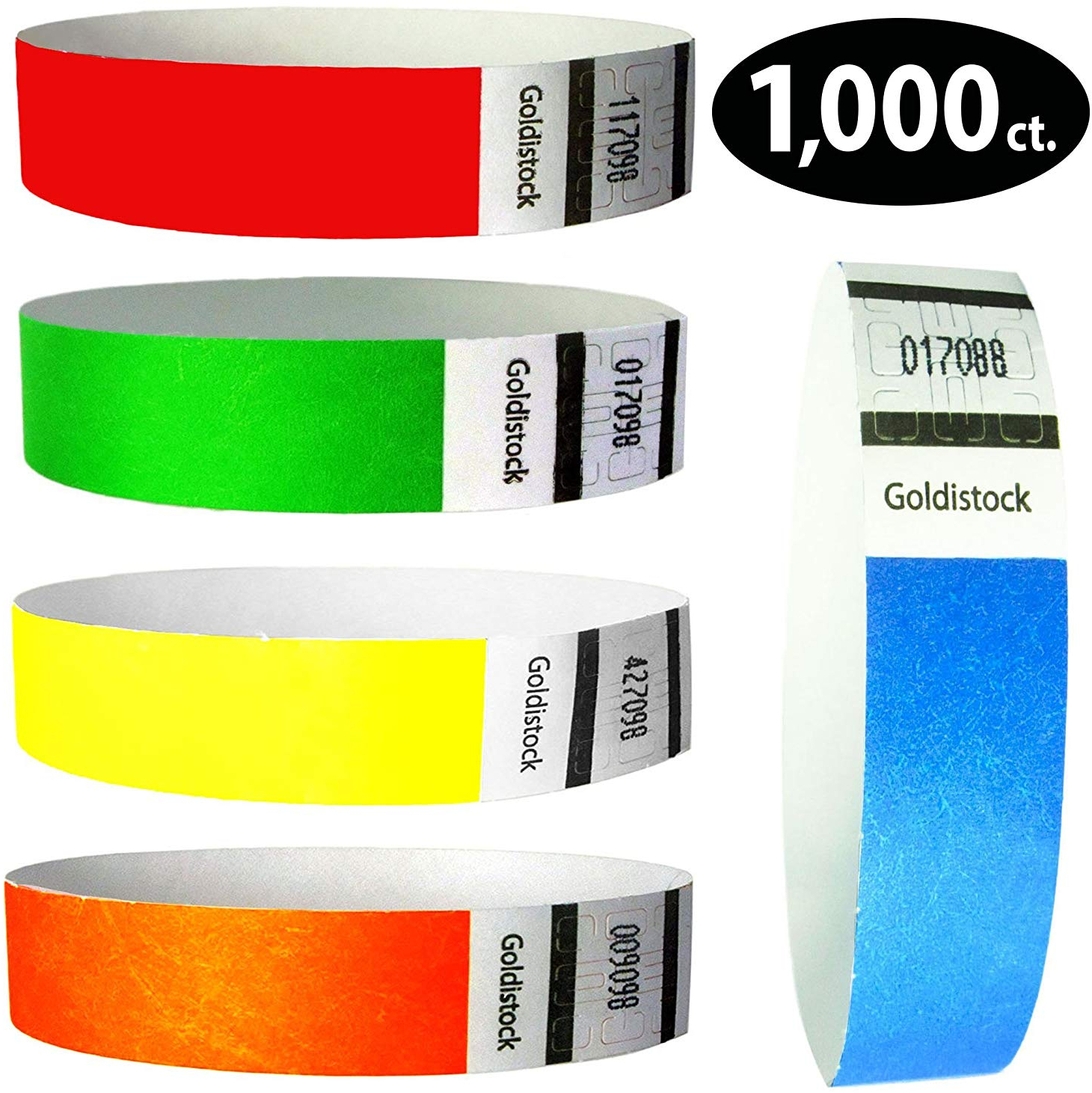 1,000 Count Arm Bands Rainbow Variety Goldistock 3//4 For Concerts Bar VIP Party