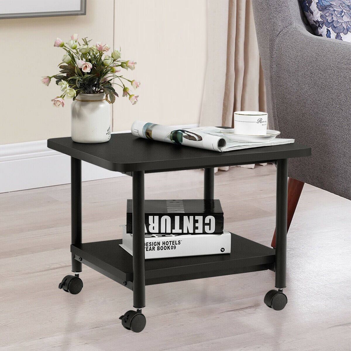 Under Desk Printer Stand With 360 Degree Swivel Casters Home Office 2 Tier Cart | eBay