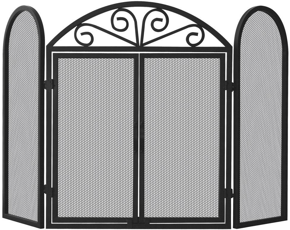 Marvelous Details About Uniflame Black Wrought Iron 3 Panel Fireplace Screen With Opening Doors Download Free Architecture Designs Photstoregrimeyleaguecom