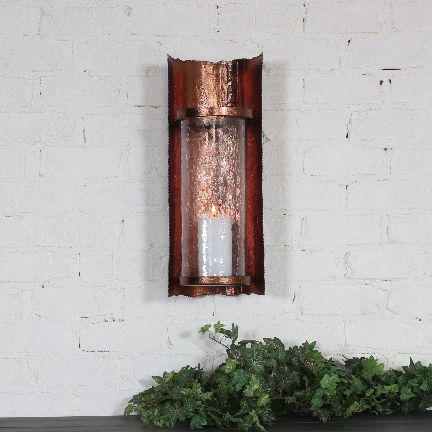Details About Uttermost Antique Copper Sconce Hammered Glass Shade Candle Holder Wall Decor