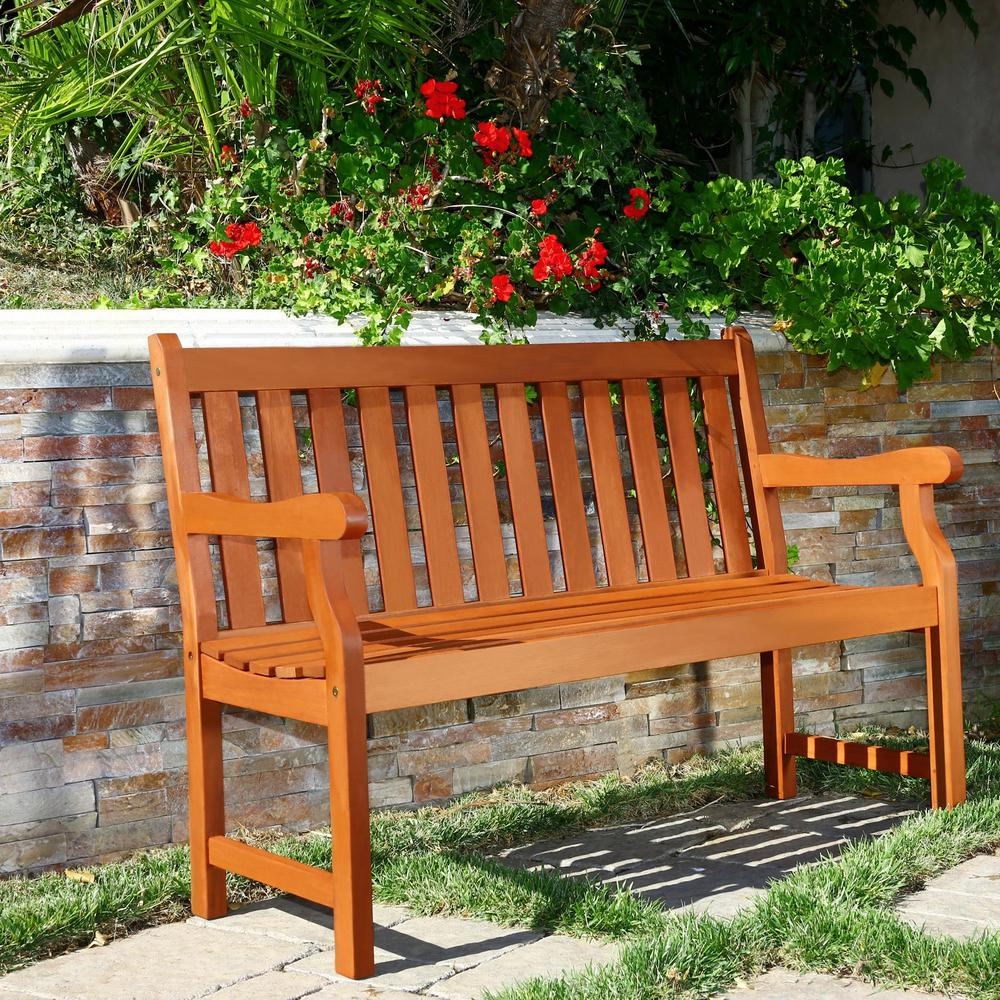 Outstanding Details About Vifah Patio Bench 400 Lb Capacity 2 Seater Weather Resistant Eucalyptus Gmtry Best Dining Table And Chair Ideas Images Gmtryco