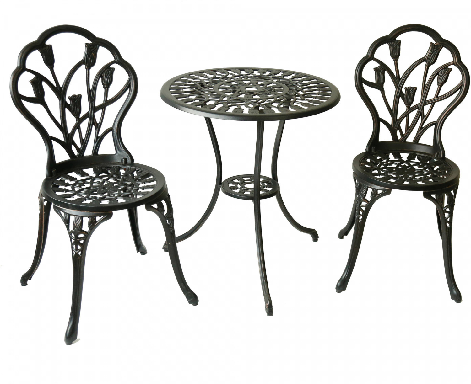 Wrought Iron Patio Set Bistro Table And Chairs 3 Pieces Outdoor