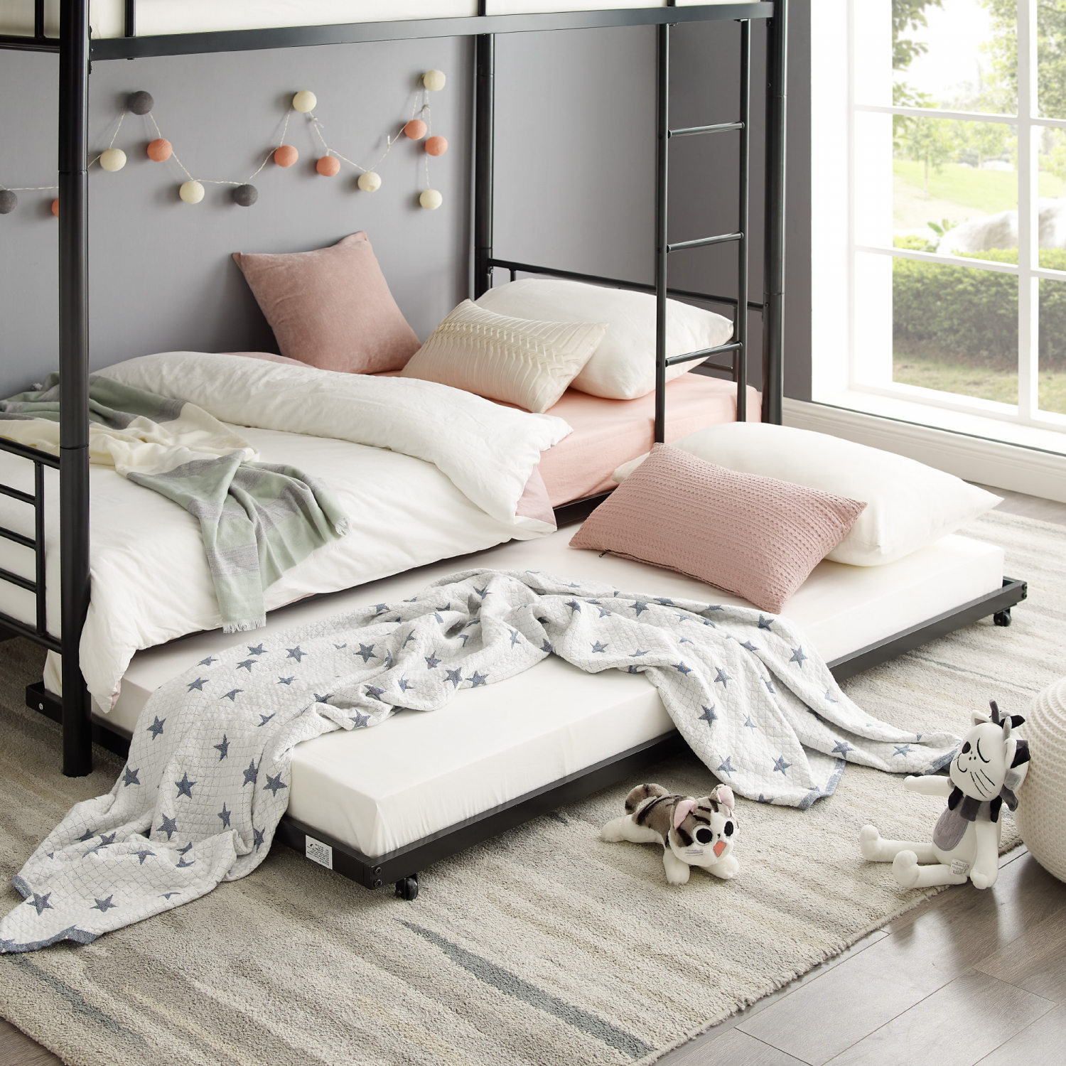 Image of: Bunk Beds Kids Black Metal Twin Bed Roll Out Trundle Frame Storage Save Space Home Garden Home Garden Furniture
