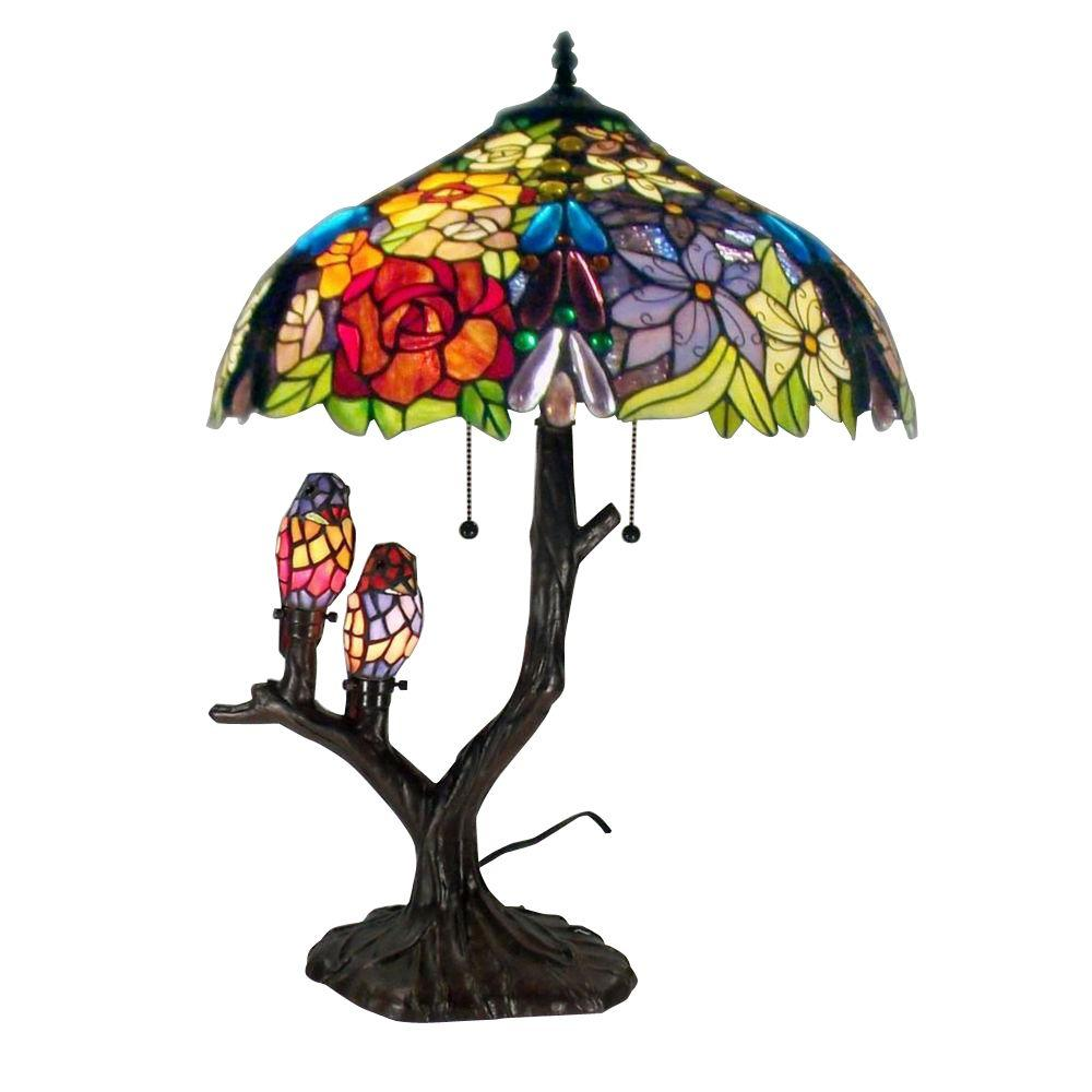 Details About Table Lamp 25 In Fl Birds Multicolored Gl Shade Resin Base Line Brown