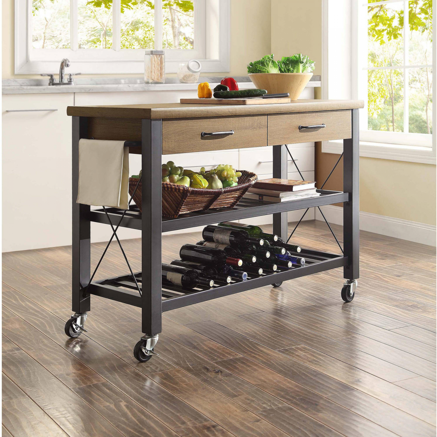 Details About Kitchen Cart Island Table Butcher Block Tv Stand Mobile Storage Wine Rack Decor