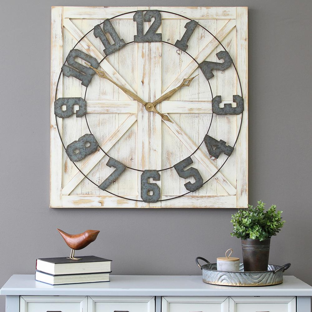 Details About Large Oversized Square Wall Clock White Rustic Farmhouse Distressed Wood 31 5