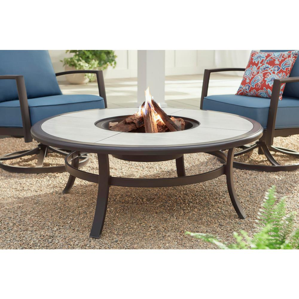 """48"""" Round Wood Burning Fire Pit Table Dark Brown Stone ..."""