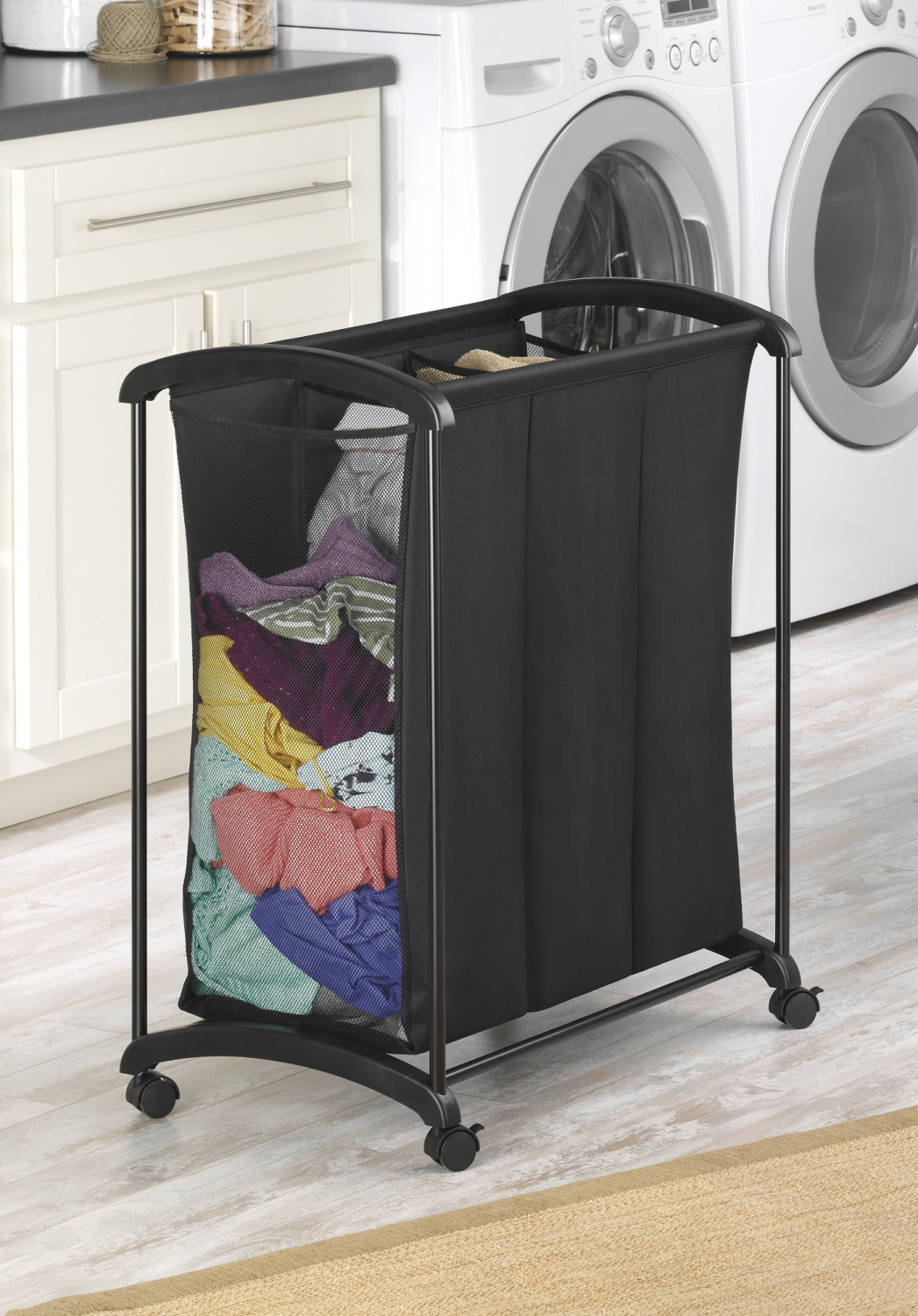 Black 3 Section Mesh Laundry Sorter W/ Wheels Home Clothes ...
