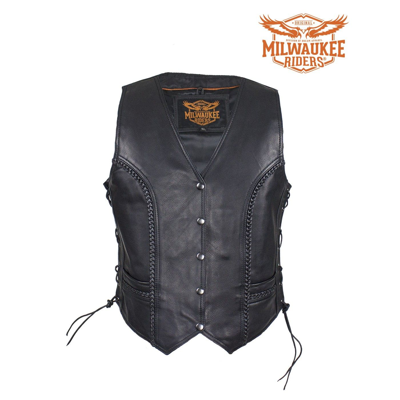 Womens Naked Leather Studded Motorcycle Vest W/ Concealed