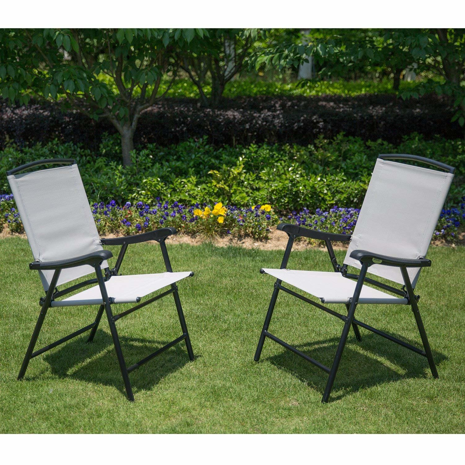 Details About Folding Patio Chair Set Of 2 Lawn Deck Chairs Metal Beige Fabric 300 Lb Capacity
