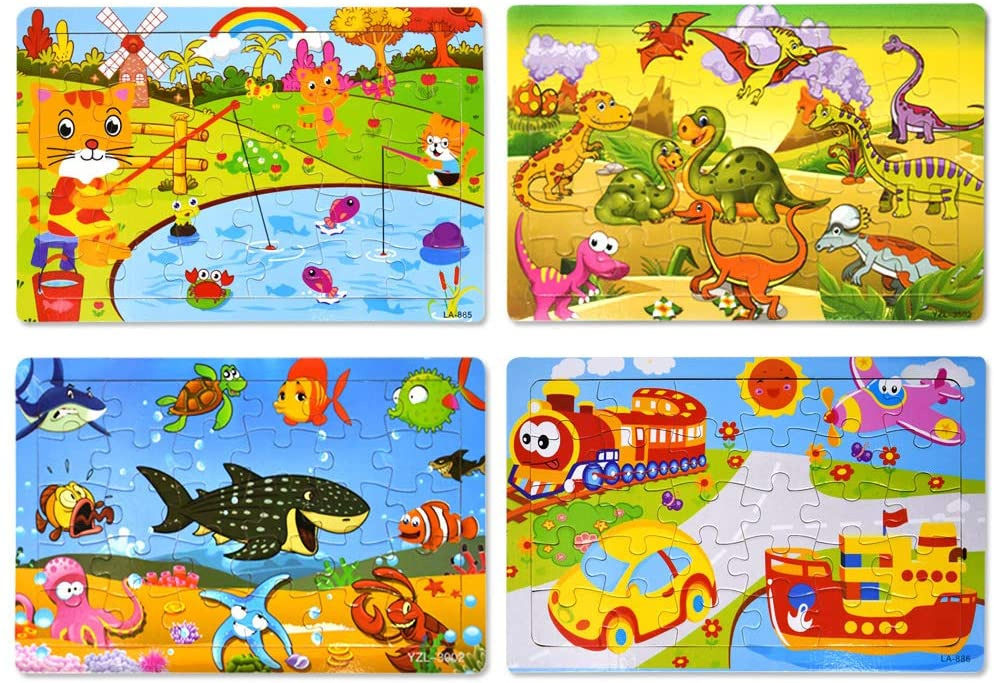 6 Pack Puzzles Kids Preschool Educational and Learning Toys for Girls and Boys 2 3 4 5 6 Years Old Wooden Jigsaw Puzzles Set for Kids Ages 2-6 Toddler Puzzles