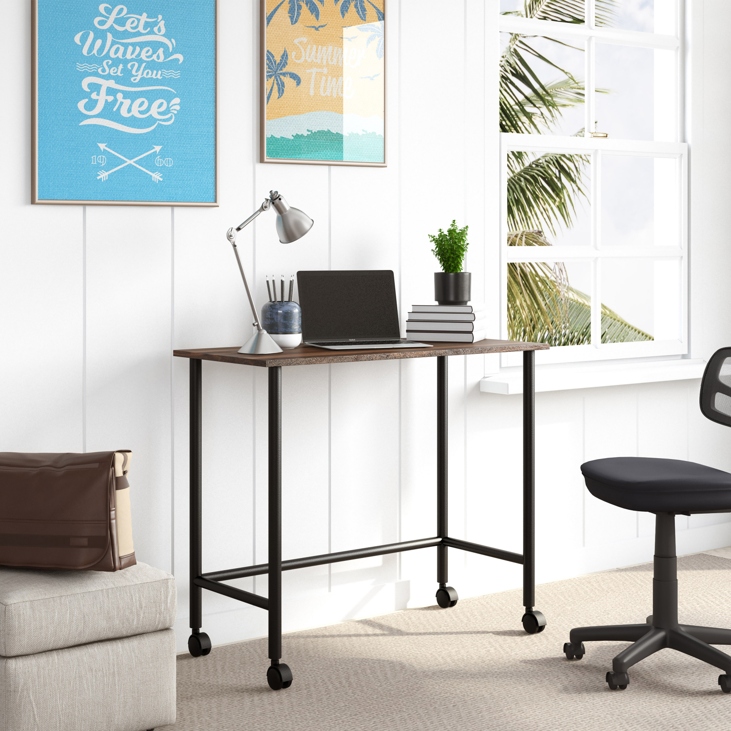 Metal Rolling Writing Computer Desk Home Office PC Laptop