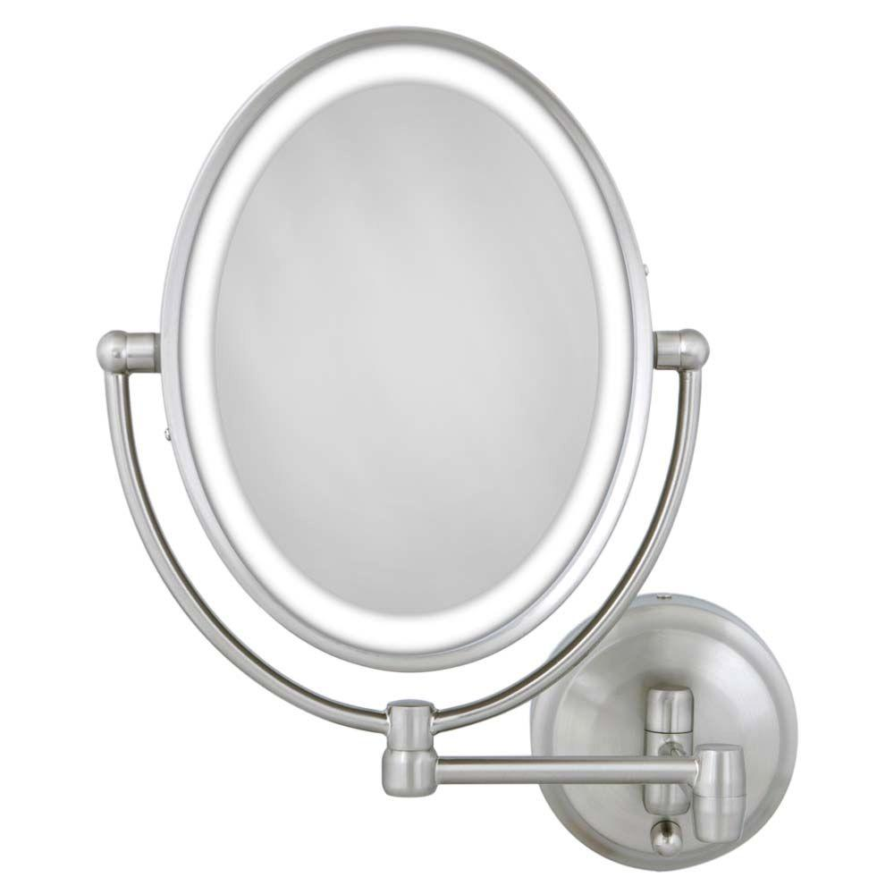 Zadro Wall Makeup Mirror Oval Lighted Magnifying Bathroom Dual Arm Satin Nickel Ebay
