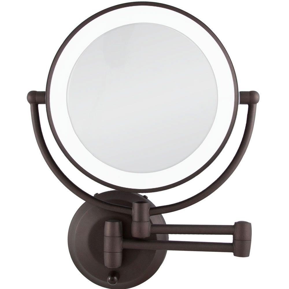 Zadro Lighted Makeup Mirror.Details About Zadro Wall Makeup Mirror Round Lighted Magnifying Bathroom Swivel Bath Bronze