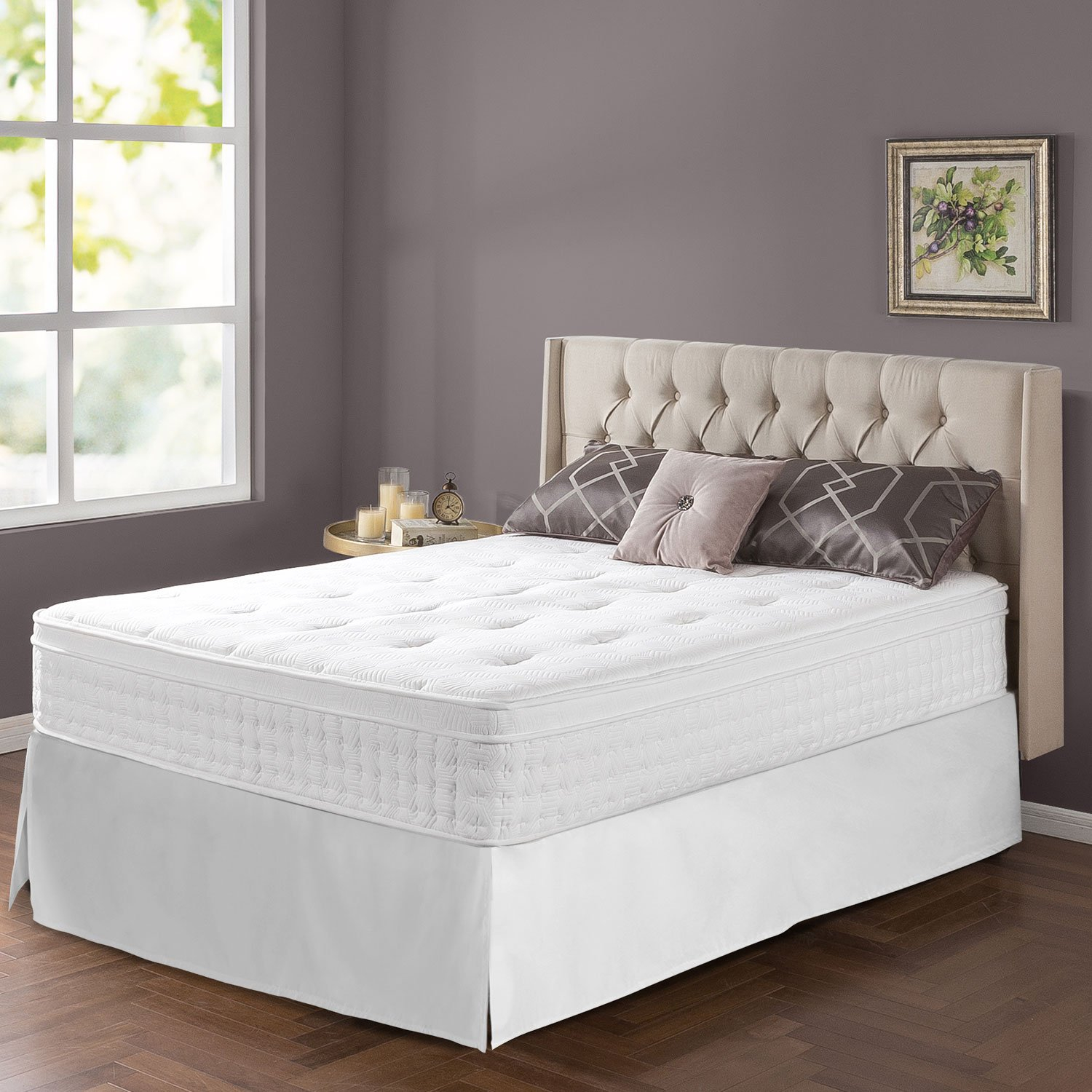 Zinus Night Therapy 12 In Euro Box Top Spring Mattress Bed