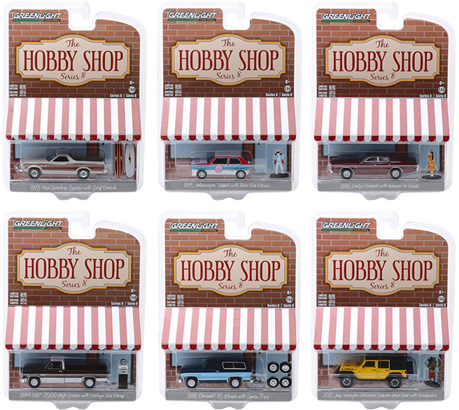 SET OF 6 CARS 1//64 DIECAST MODELS BY GREENLIGHT 97020 THE HOBBY SHOP SERIES 2
