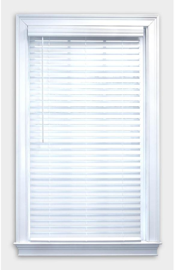 Allen Roth 2 In Cordless White Faux Wood Blinds 36 In X