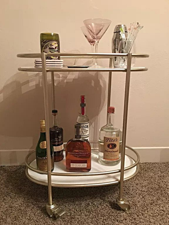 Retro Glam Bar Cart White Marble Shelves Gold Metal Stand