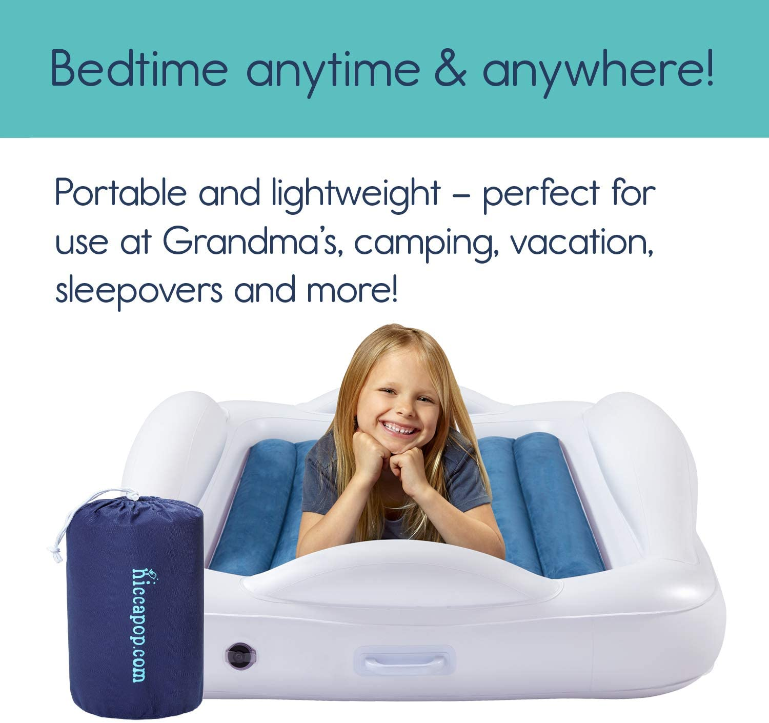 hiccapop Inflatable Toddler Travel Bed with Safety Bumpers ...
