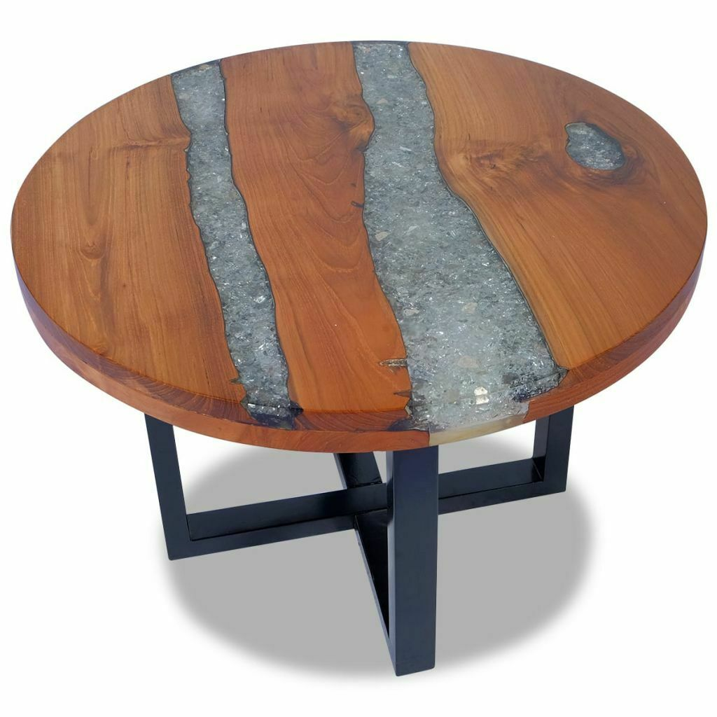 Details About Vidaxl Solid Teak Wood Coffee Table Resin Handmade Paint Finish Side End Couch